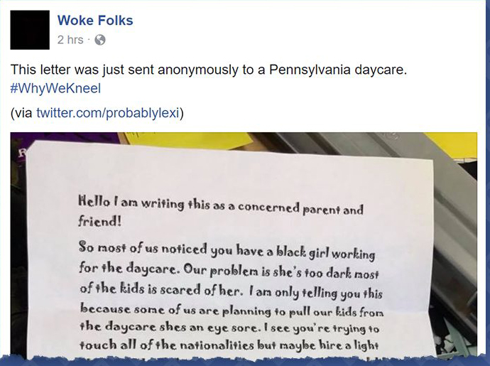 Racist daycare letter