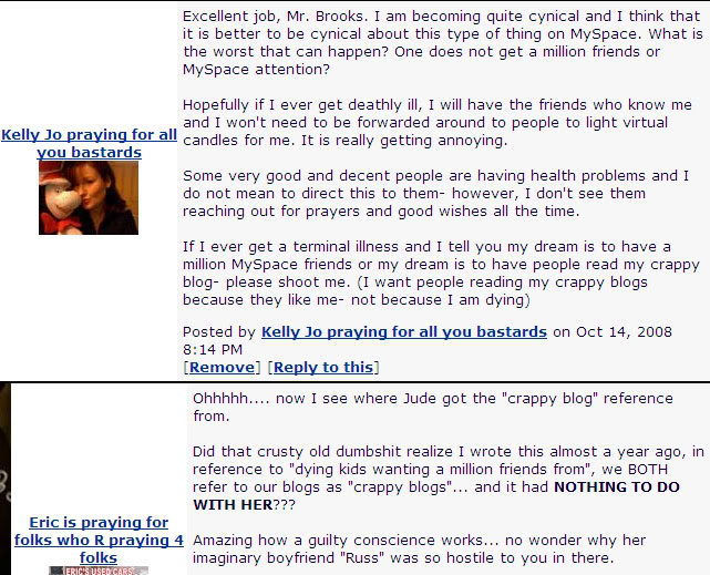 Kelly Jo's comment on my MySpace blog that set Jude off