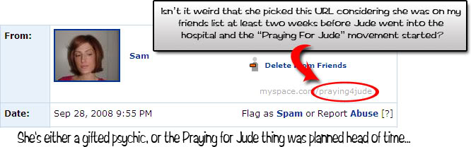 How do you have a URL like 'Praying4Jude' when there WAS NO 'Praying for Jude' movement  for another 2 weeks?