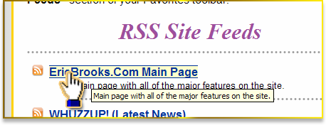 Clicking on the EricBrooks.Com main RSS Page