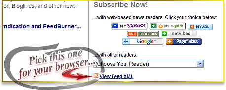 "Choose ""View Feed XML"" for Live Bookmarks"