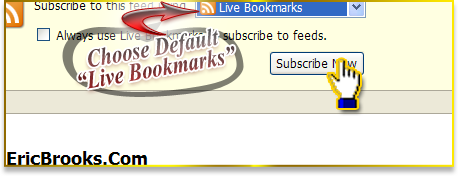 "Keep it on the default ""Live Bookmarks"" and press the ""Subscribe Now"" button"